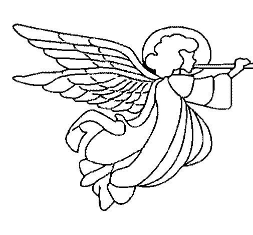 Coloriage de ange avec des grandes ailes pour colorier - Coloriage d ange ...