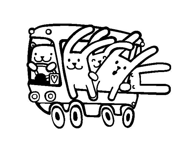 Coloriage de Autobus de lapins pour Colorier