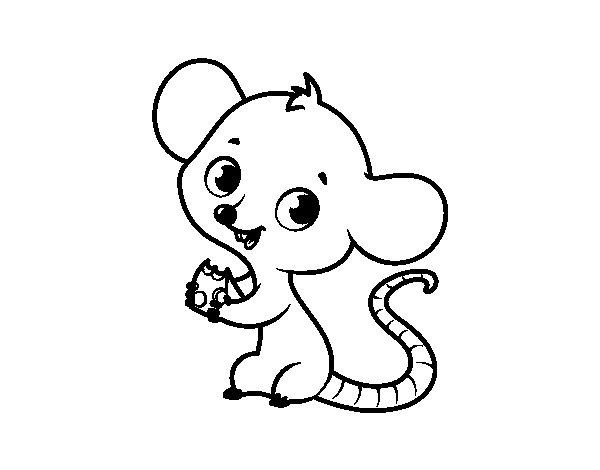 Coloriage de Bébé souris pour Colorier