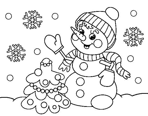 Coloriage de Carte de bonhomme de neige de Noël pour Colorier
