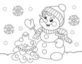 <span class='hidden-xs'>Coloriage de </span>Carte de bonhomme de neige de Noël à colorier