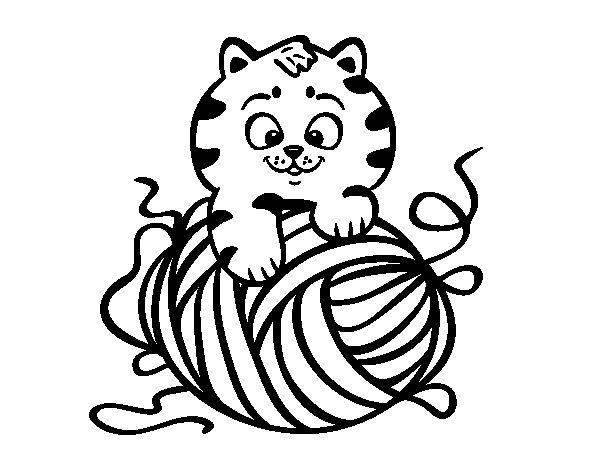 Coloriage de chat avec une pelote de laine pour colorier - Combien de pelote pour une echarpe ...