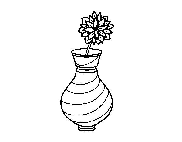 Coloriage de Chrysanthemum dans un vase pour Colorier