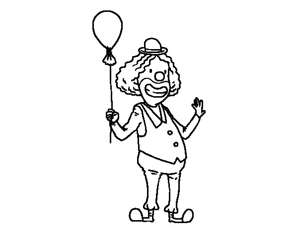 Coloriage de  Clown et le ballon pour Colorier