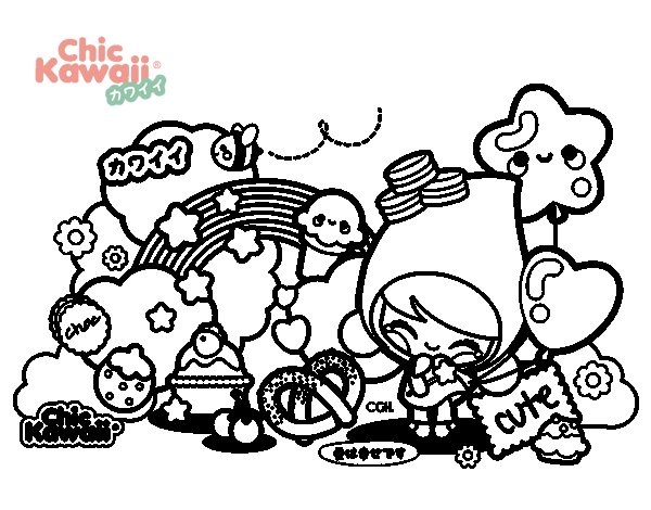 Coloriage de collage kawaii pour colorier - Coloriage kawaii a imprimer ...