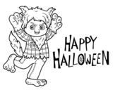 <span class='hidden-xs'>Coloriage de </span>Costume de loup pour Halloween à colorier