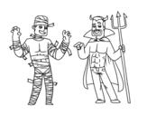 <span class='hidden-xs'>Coloriage de </span>Costumes d'Halloween à colorier
