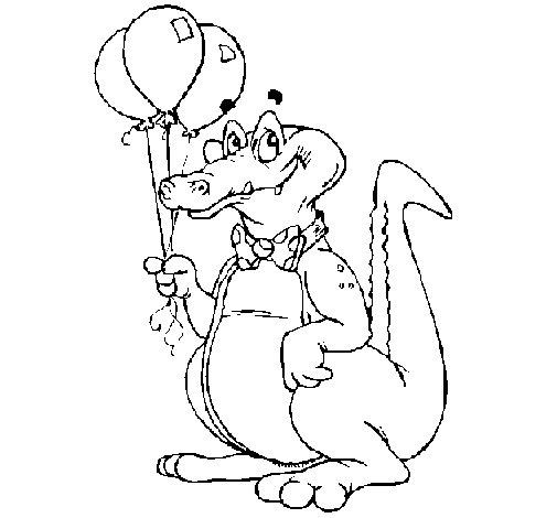Coloriage de Crocodile avec des ballons pour Colorier