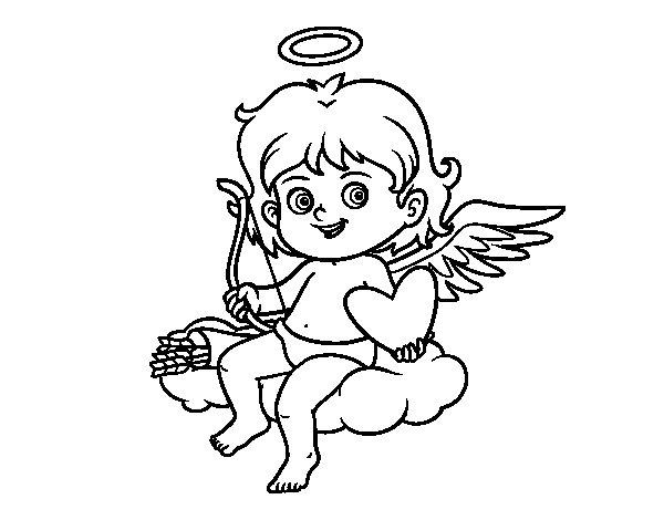 Coloriage de  Cupidon sur un nuage pour Colorier