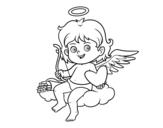 Dibujo de  Cupidon sur un nuage
