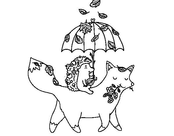Coloriage de des animaux et l 39 automne pour colorier - L automne dessin ...