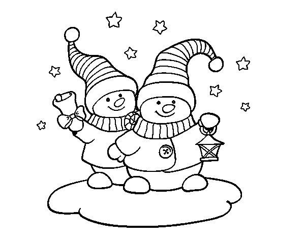 Coloriage de Deux poupées de Noël pour Colorier