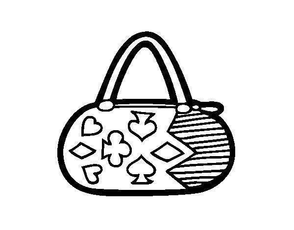 Coloriage de Embrayague avec des motifs de jeu de cartes pour Colorier