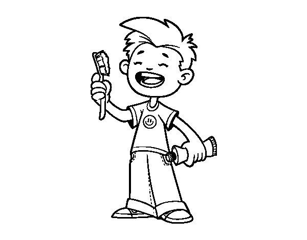 Coloriage de Enfant avec une brosse à dents pour Colorier