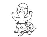 <span class='hidden-xs'>Coloriage de </span>Enfant jouant avec une boîte-cadeau à colorier