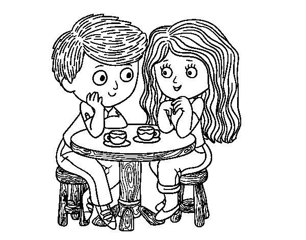 Coloriage de Enfants buvant du café pour Colorier