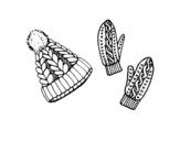 <span class='hidden-xs'>Coloriage de </span>Ensemble de gants et chapeau à colorier