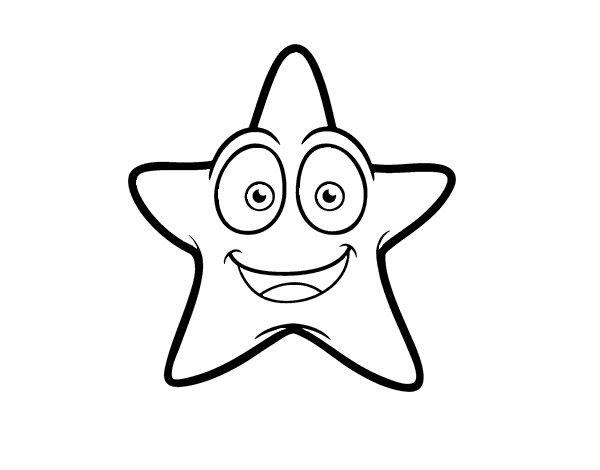 Coloriage de Étoile de mer souriante pour Colorier