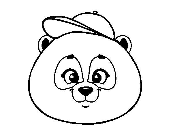 Coloriage de Face de Panda avec bonnet pour Colorier
