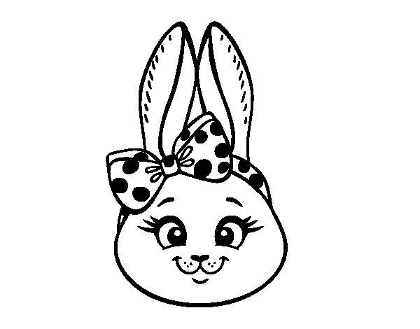 Coloriage de Face de petit lapin pour Colorier