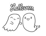 <span class='hidden-xs'>Coloriage de </span>Fantômes d'Halloween à colorier