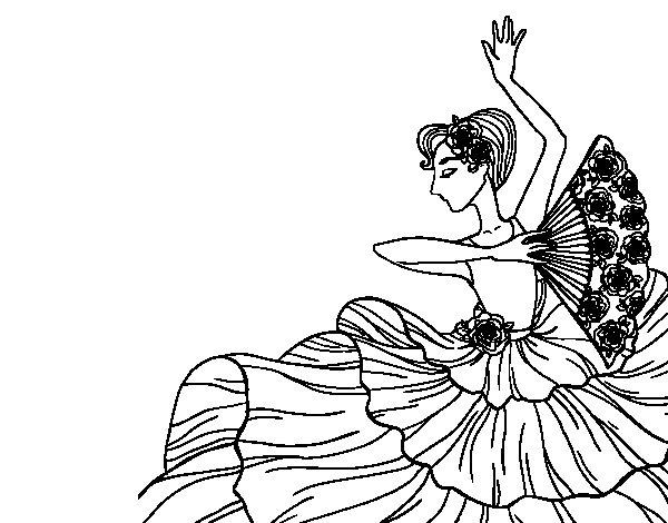 Coloriage de Femme flamenco pour Colorier