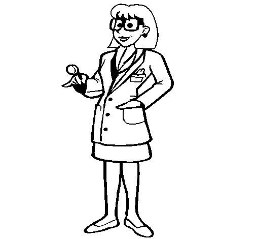 Coloriage de Femme médecin à lunettes pour Colorier