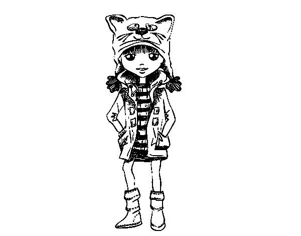 Coloriage de Fille avec chapeau de chat pour Colorier
