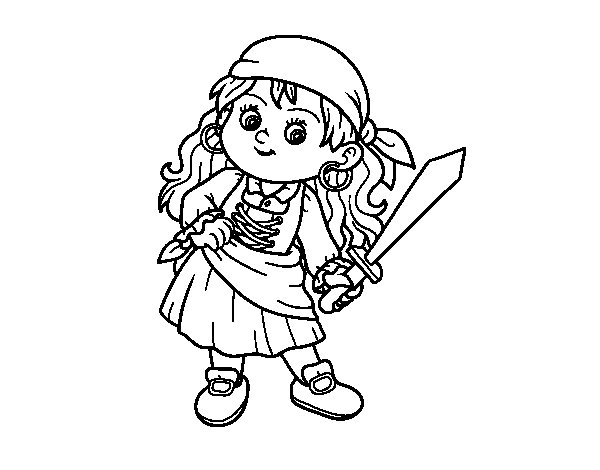 Coloriage de fille pirate pour colorier - Coloriage fille pirate ...