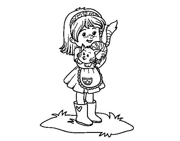 Coloriage de fillette avec chaton pour colorier - Coloriage fillette ...