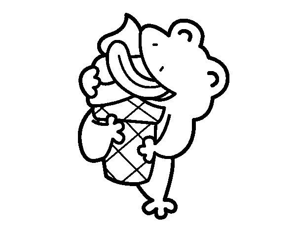 Coloriage de Grenouille avec un glace pour Colorier