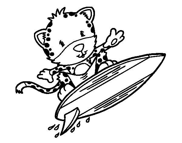 Coloriage de Guépard surfer pour Colorier