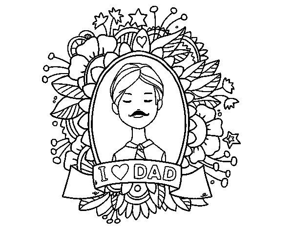 Coloriage de I love Dad pour Colorier
