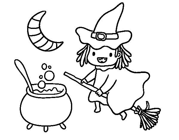 Coloriage de La sorcière volante et sa potion pour Colorier