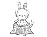 Dibujo de Lapin sauvage à l'abri