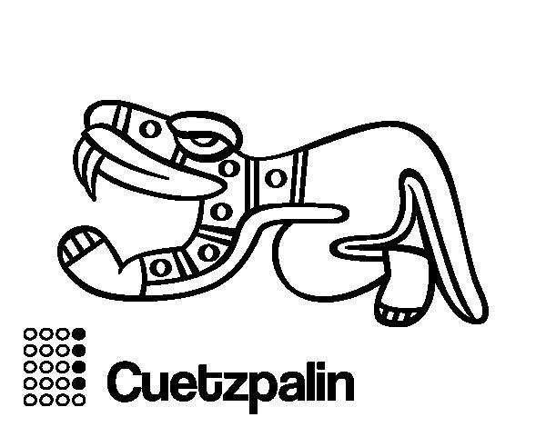 Coloriage de les jours azt ques l zard cuetzpalin pour colorier - Dessin azteque ...