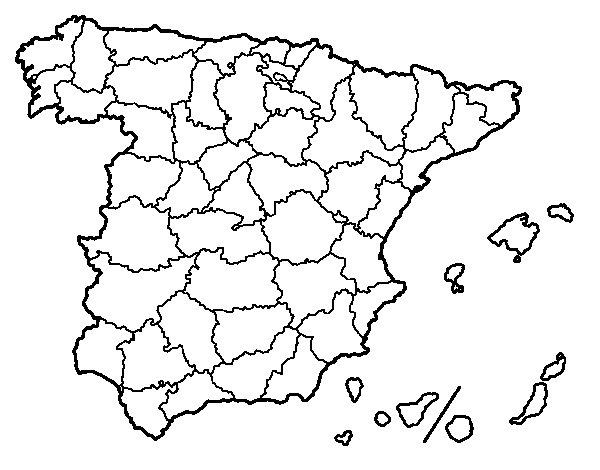 Coloriage de Les provinces de l'Espagne pour Colorier