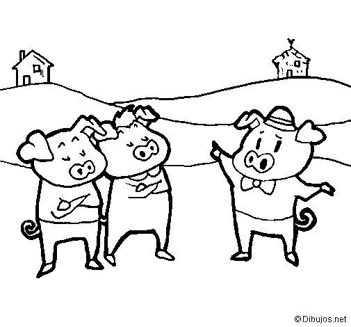Coloriage de les trois petits cochons 5 pour colorier - Dessin des 3 petit cochon ...