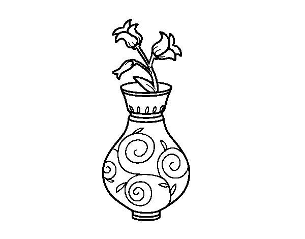 Coloriage de Liseron dans un vase pour Colorier