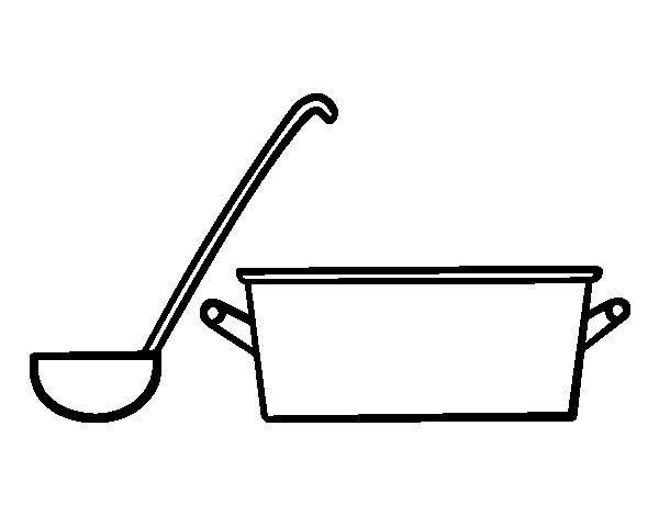 Coloriage de louche et casserole pour colorier - Casserole dessin ...