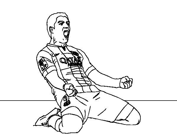 Coloriage de Luis Suárez del Barça pour Colorier
