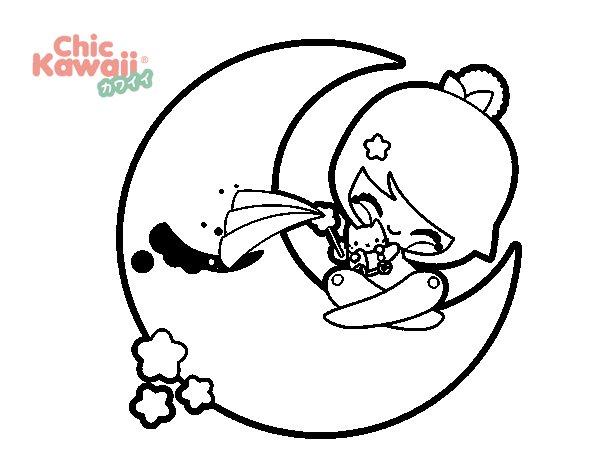 Dibujos Para Colorear Kawaii Disney: Coloriage De Lune Kawaii Pour Colorier