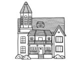 <span class='hidden-xs'>Coloriage de </span>Maison de deux étages avec une tour à colorier