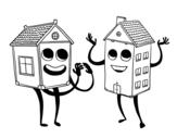 <span class='hidden-xs'>Coloriage de </span>Maisons voisines à colorier