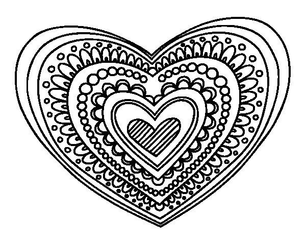 Coloriage de Mandala cœur pour Colorier