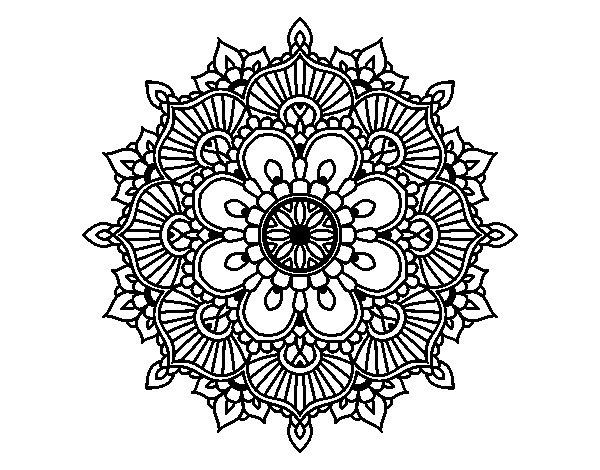 Dibujos De Mandalas: Coloriage De Mandala éclat Floral Pour Colorier