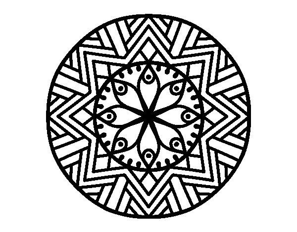 Coloriage de Mandala fleur de bambou pour Colorier