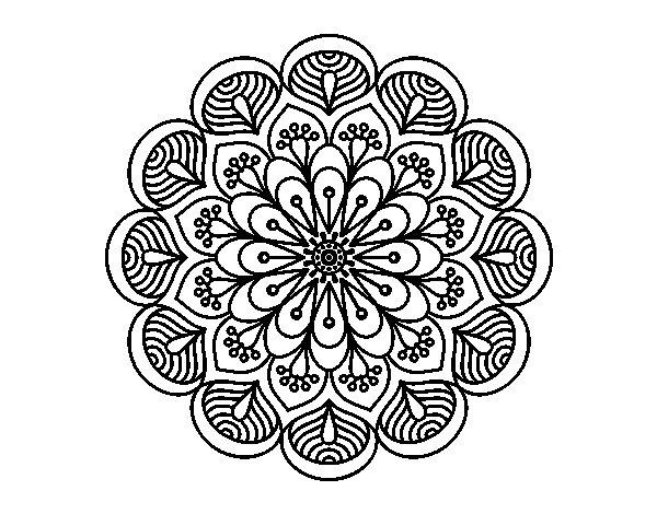 Coloriage de Mandala fleur et feuilles pour Colorier