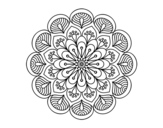 <span class='hidden-xs'>Coloriage de </span>Mandala fleur et feuilles à colorier