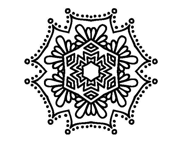 Coloriage de Mandala fleur symétrique pour Colorier